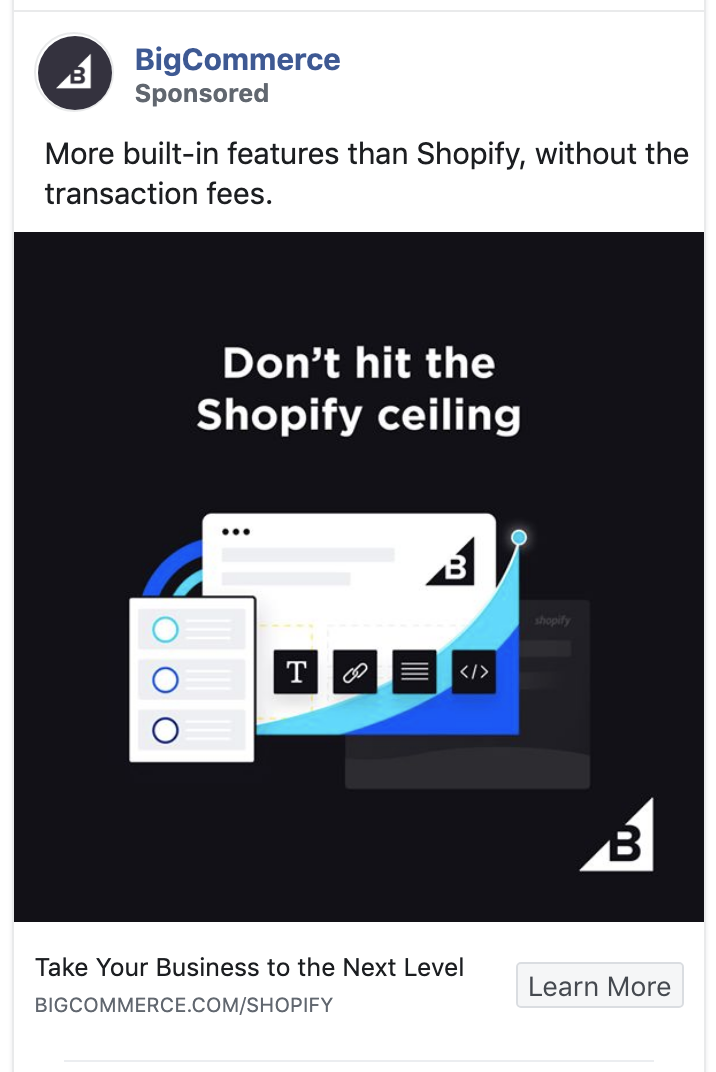 BigCommerce ad calls out the competition