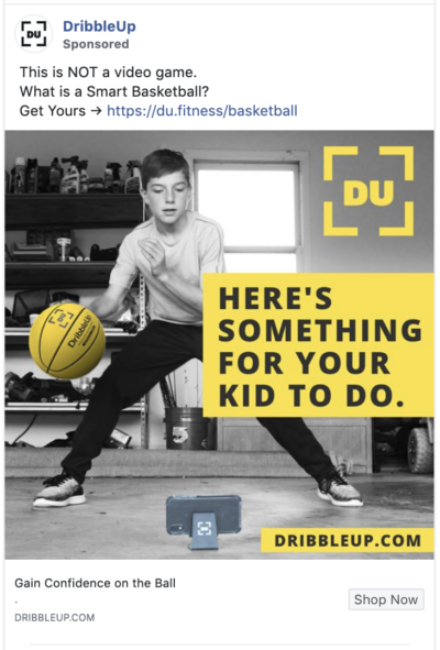 DribbleUp's ad makes use of contrast
