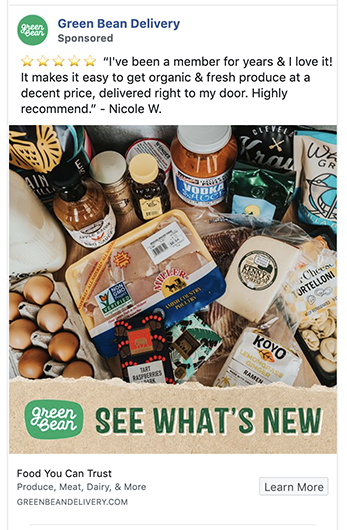 Green Bean Delivery's uses a testimonial in their Facebook Ad
