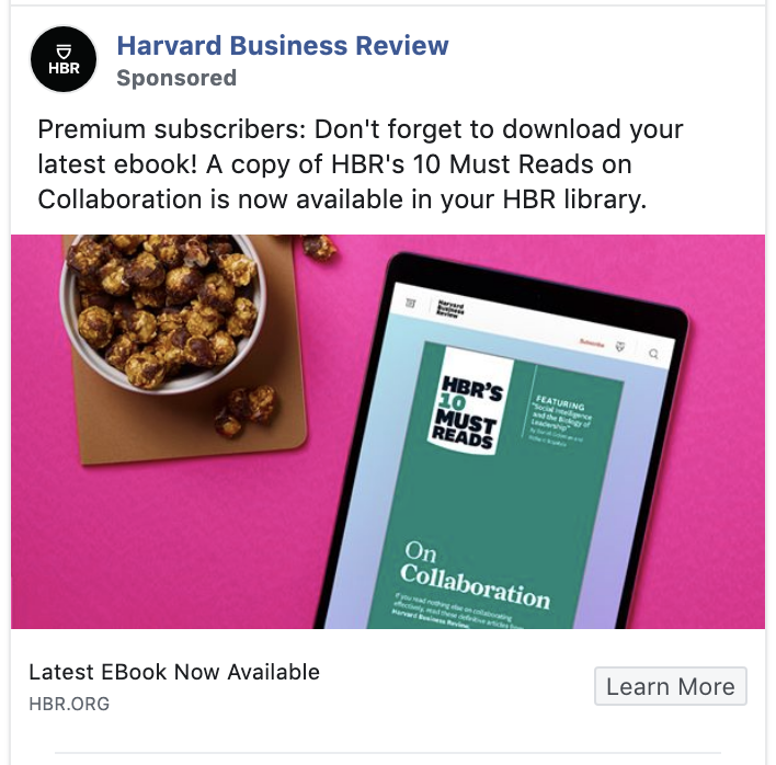 Harvard Business Review ad aims at retention