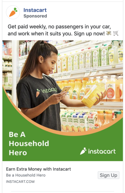 Instacart ad makes compelling offer