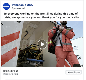 Panasonic ad uses timely messaging