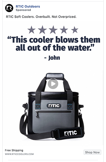 RTIC Outdoors facebook at uses a testimonial
