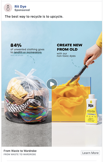 Rit Dye facebook ad uses before and after image