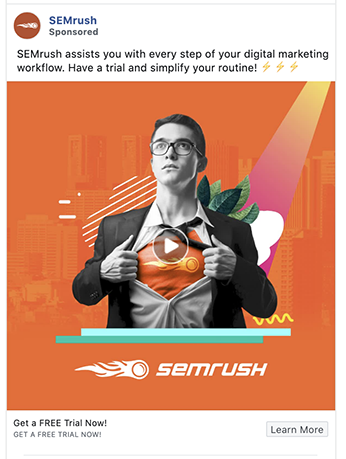 SEM Rush's facebook ad makes an emotional appeal