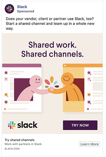 Slack ad uses CTA button in image