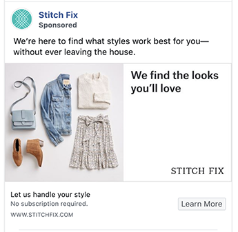 Stitch Fix ad presents unique selling proposition