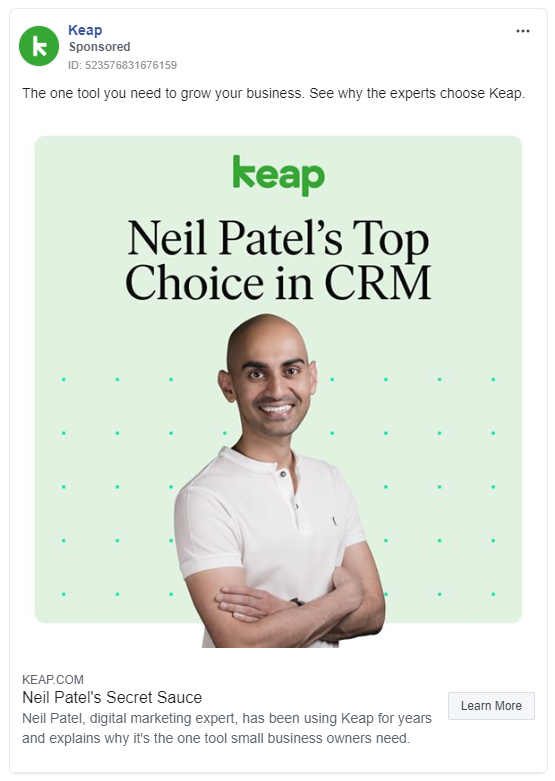 Keap's facebook ad uses a powerful endorsement