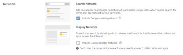 Google Ads Setup - Choose Search Network only